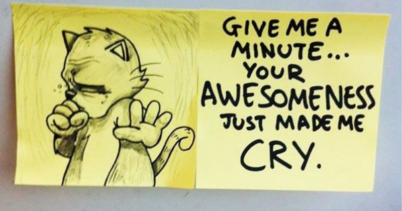 Guy Left Cat Themed Motivational Notes On The Train And They're Awesome