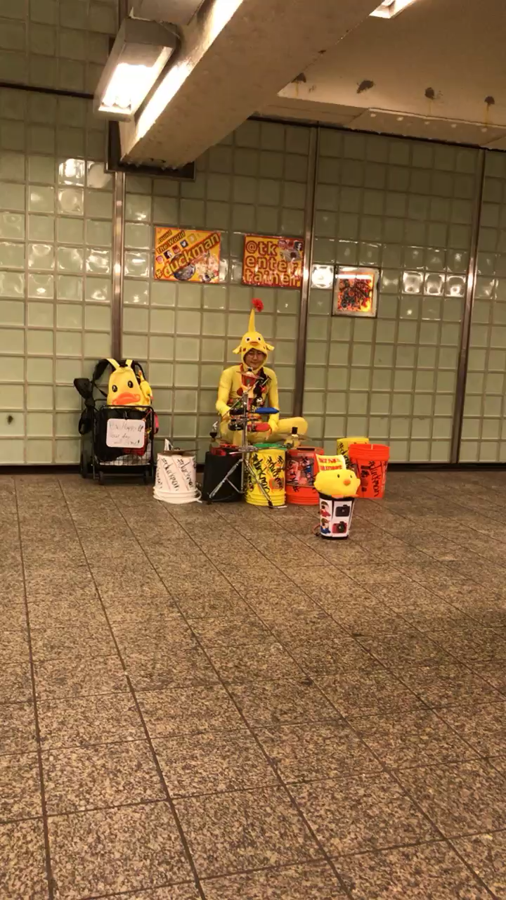 "Duck Man @ Times Square spreading ""Be Happy all day .."""